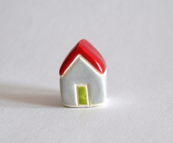 Tiny Cottage red gray grey lime green miniature little clay house collectible terrarium decor