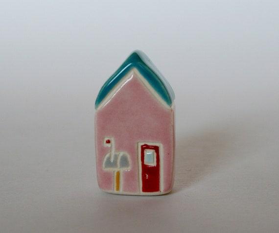 Miniature Little House pink Aqua blue mailbox Ceramic Clay