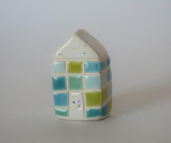 Miniature Brick Ceramic Little House White Blue Green Multicolor Plaid