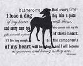 Greyhound Dog Sympathy Card with Envelope - Heart of a Dog