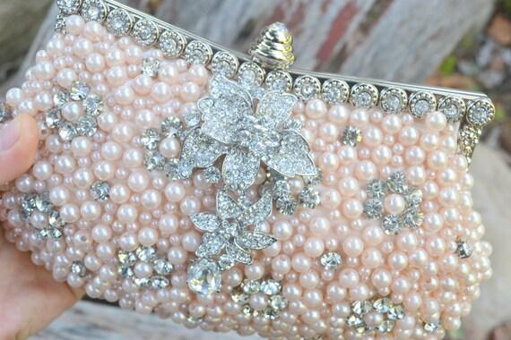 Blush rhinestone and pearl clutch -- ready to ship