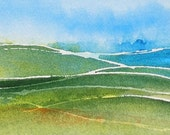 ACEO Landscape Distant Rains Original Painting Watercolor Green Blue