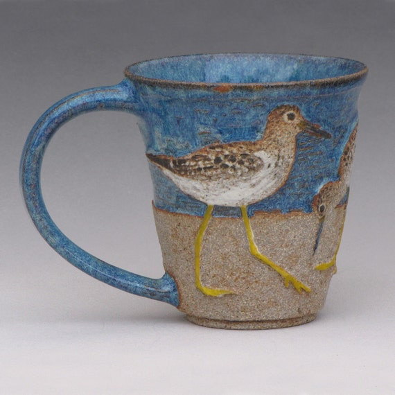BIRDS & BEACH MUG -- With 3 Lesser Yellowlegs