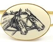 Vintage Horse Cameo Gold Bracelet