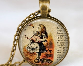 Alice in wonderland  necklace , fairytale pendant , Wonderland fantasy jewelry once upon a time necklace