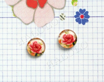 Sale - 10pcs handmade red rose round clear glass dome cabochons 12mm (12-0019)