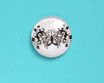 4pcs handmade butterfly round clear glass dome cabochons 25mm (250039)