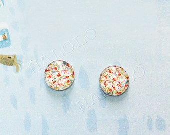 Sale - 10pcs handmade small red flowers clear glass dome cabochons 12mm (12-0314)