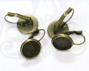50 pcs antique bronze finish french earring - round pad inner size 12mm diameter.(0239B)