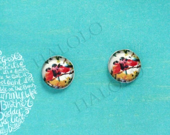 Sale - 10pcs handmade three red bird  clear glass dome cabochons 12mm (12-0638)