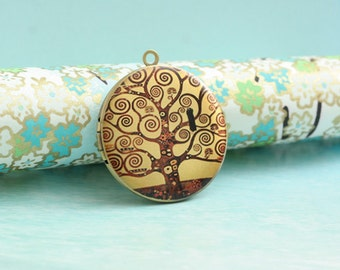 1pc tree of life round antique brass locket 32mm (LD054)