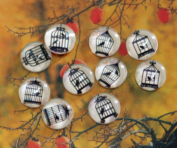10pcs handmade assorted bird cages clear glass dome cabochons 12mm (12-0196)