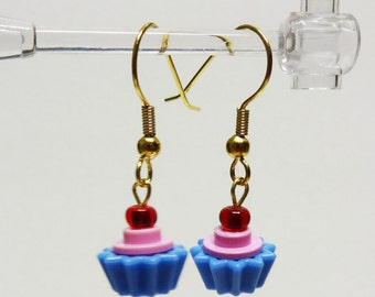 Mini Pink and Blue Cupcake Dangle Earrings