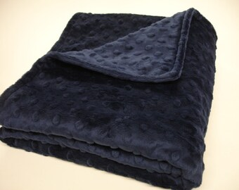 Navy Blue Minky Blanket Double Sided MADE TO ORDER