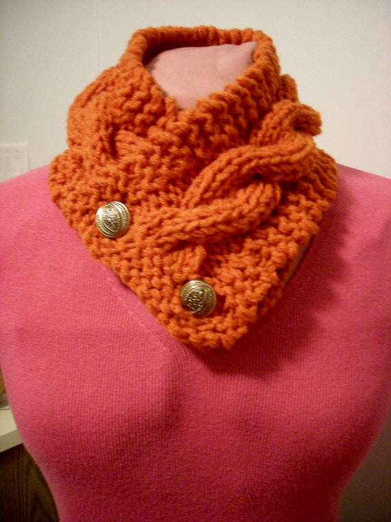 double knit button cable scarf PDF pattern