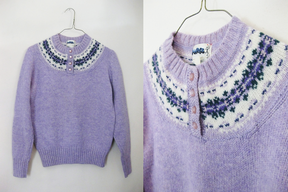 70s Lilac Pure Wool Scandinavian Style Sweater - S
