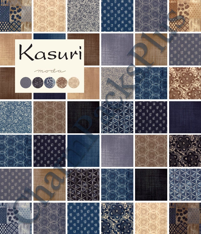 Moda Kasuri Charm Pack Five Inch Quilt Fabric Squares Blocks