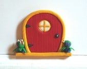 Fairy Door with Carnivorous Plants and Glow-in-the-Dark Window- Red Sparkly