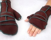 Brown Convertible Mittens, Xmittens Fingerless Gloves, Recycled Fleece, Teal thread, size LARGE