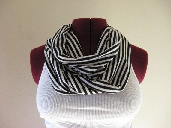 Infinity scarf black and white paris stripe READY TO SHIP
