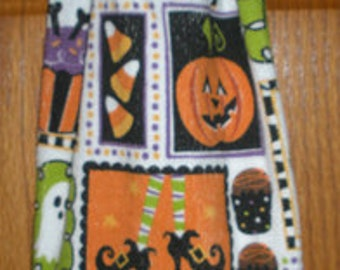 sweet treats halloween crochet top hanging kitchen or bath towel - Halloween Bath Towels