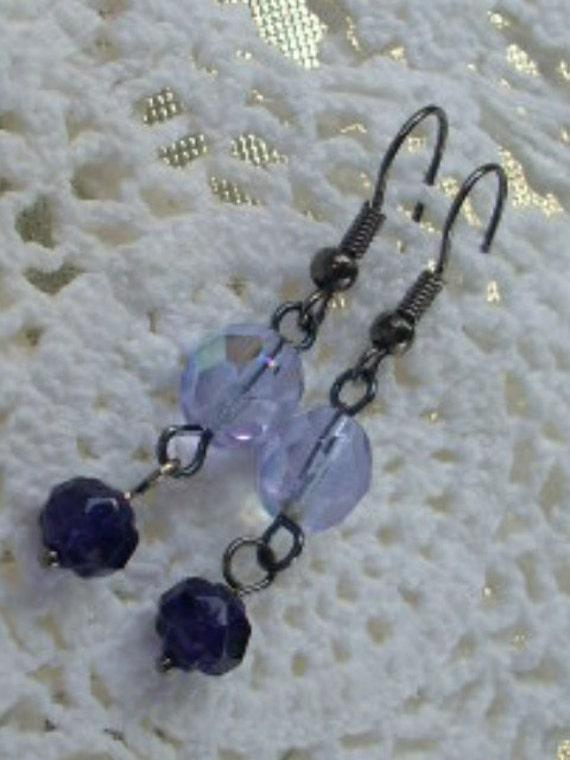 Purple Czech Glass Bead Gunmetal Earrings