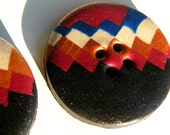 Set of 2 One-of-a-kind Handmade Zig Zag Buttons...