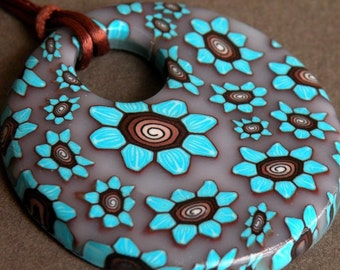 Turquoise Blue, Brown and White Petite Flowers Round Pendant...