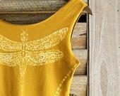 Women's mustard tank top handpainted Original art of a Beautiful Dragonfly OOAK