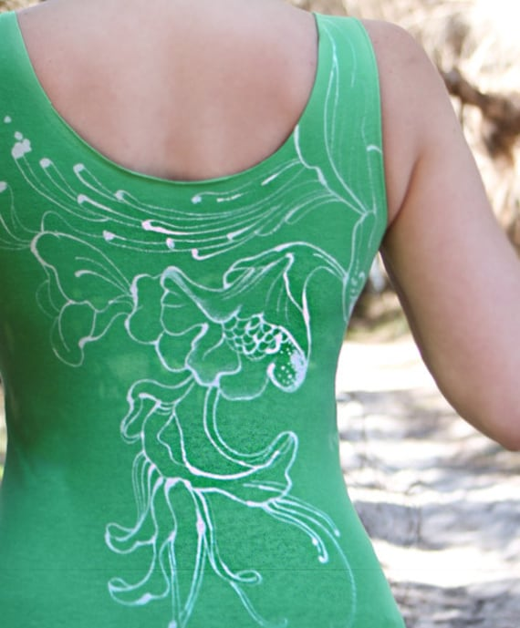 Women's kelly green tank top handpainted Original art of Floral fine lines and brish strokes OOAK