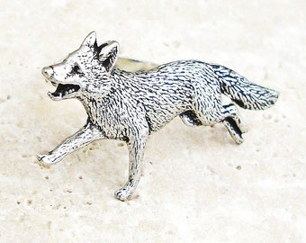 Fox Ring. Antiqued Pewter Silver Plated Ring