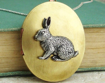 Rabbit Locket Necklace. Antiqued Silver Pewter and Vintage Brass Locket Necklace