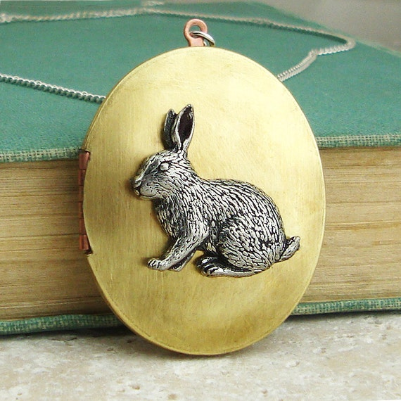 Rabbit Locket Necklace. Antiqued Silver Pewter and Vintage Brass Locket Necklace