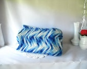 Vintage Blanket Vintage Afghan Blue Chevron Blanket Granny Chic Blue and White Ripple Pattern