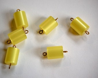 Vintage Yellow Moonglow Lucite Connector Charms drp108