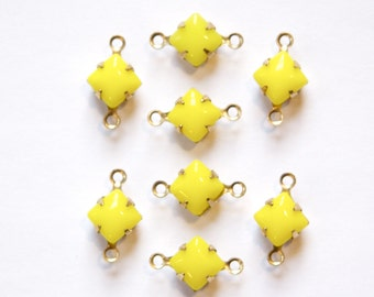 Opaque Yellow Square Glass Stones in 2 Loop Brass Setting 6mm squ001W2