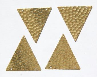 3 Hole Raw Brass Geometric Hammered Triangle Pendant Charm (6) mtl369A
