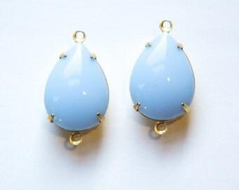 Vintage Opaque Blue Glass Teardrop Stones 2 Loop Brass Setting 18x13mm par004DD2