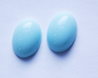 Vintage Soft Light Blue Glass Cabochons 18x13mm (2) cab079A