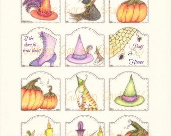 Halloween Hang Tags, Witches and Cats, Halloween Gift Tags, Digital Download