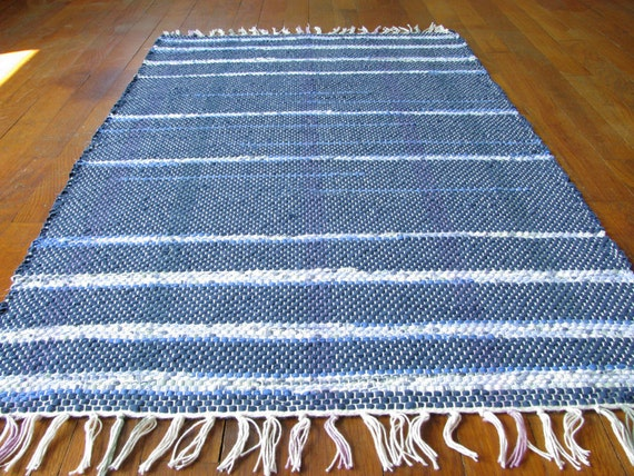Handwoven Rag Rug - Navy, royal & sky blue, sage, lilac / Eco-friendly, upcycled / MirandasLoom