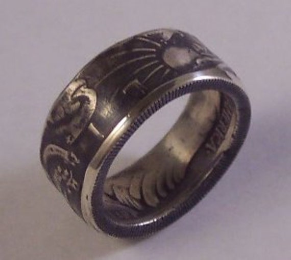 Silver coin ring Walking Liberty with nice patina size 9 year 1939