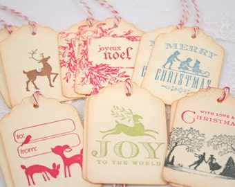 Christmas Tags Holidays Gift Tags Sampler Gift Tag Set - Vintage Inspired