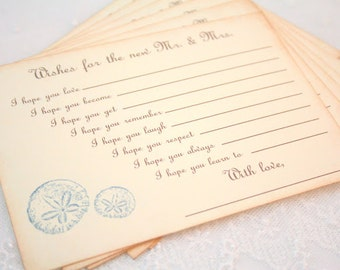 Beach Wedding Wish Cards Fill in the Blank Game Wishes Seashells Guest Book Alternative