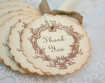 Thank You Wedding Tags Bride Favor Tags Set of 10