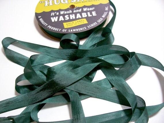 Green Ribbon, Vintage Pine Green Rayon Seam Binding 1/2 inch wide x 10 Yards, Hug Snug