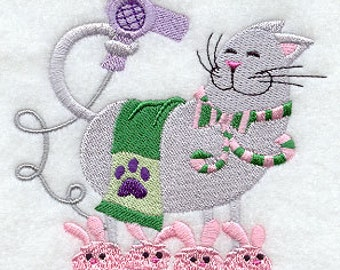 Embroidered Clean Kitty Hand Towel