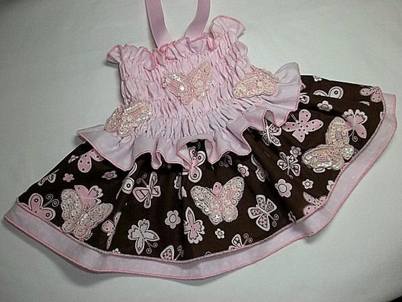 Reserved for Carrie Smocked Butterfly Dress in Pink and Chocolate