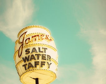 Retro decor, salt water taffy, vintage sign, barrel, boardwalk, Jersey Shore, candy, aquamarine, clouds, barrel, neon lights, mad men