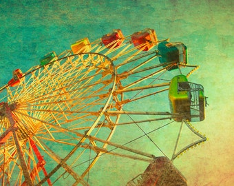Carnival photography, ferris wheel photo, circus art, emerald green, child's room, nursery wall art, baby, nostalgia, carnival print - 8x10